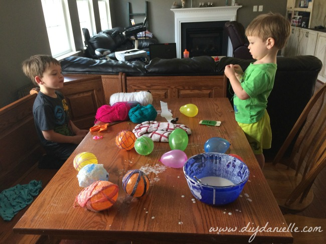 My kids, refusing to help with the messy part of our Easter decor project!