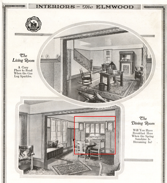 Sears Elmwood interior Living Room and Dining Room 1918 catalog