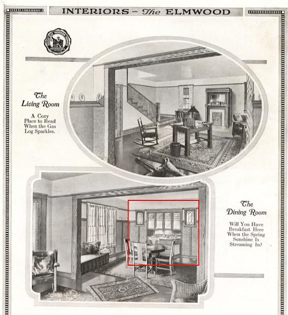 Sears Elmwood interior Living Room and Dining Room 1918 catalog