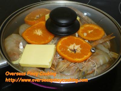 Halabos na Hipon sa Royal Tru-Orange - Cooking Procedure