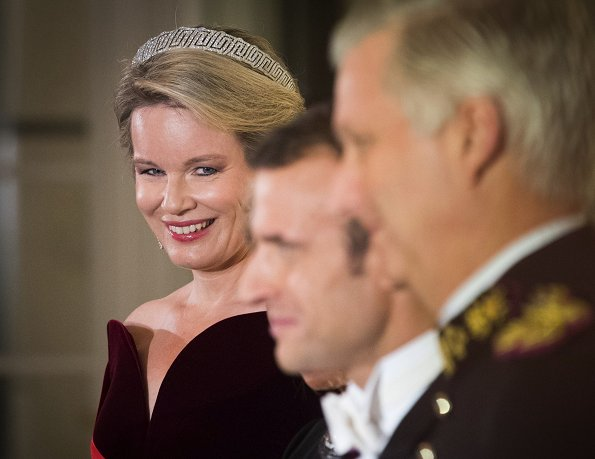 Queen Mathilde, President Emmanuel Macron, Brigitte Macron, Princess Astrid and Princess Claire diamond tiara, wore Armani dress