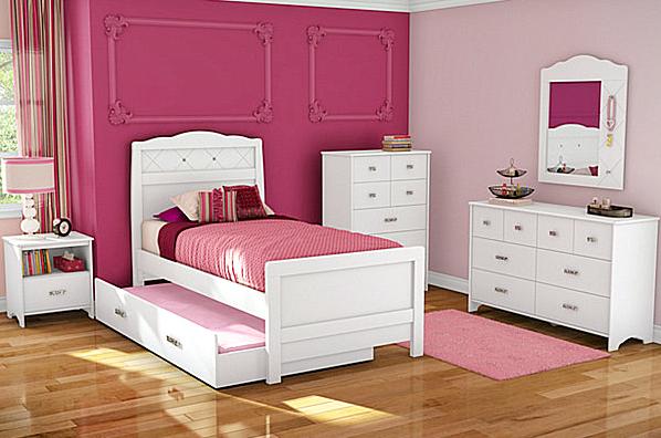 10 Model Tempat Tidur Minimalis Untuk Anak Perempuan Bertema Pink ! - Classic