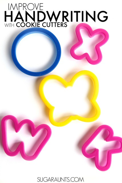 Use cookie cutters to improve and help with handwriting.