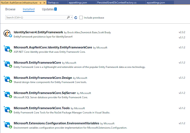 Mise à jour des packages autour d'EntityFrameworkCore  pour installer EntityFrameworkCore.Tools