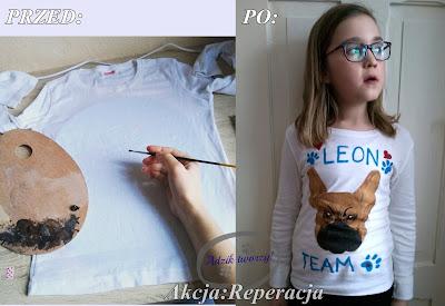 bluzka z buldogiem francuskim ręcznie malowana