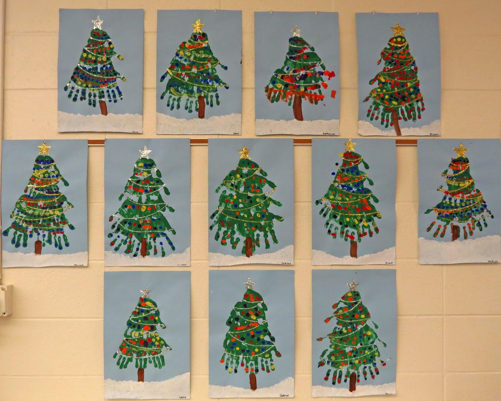 Kindergartners on the Go!: Handprint Christmas Trees