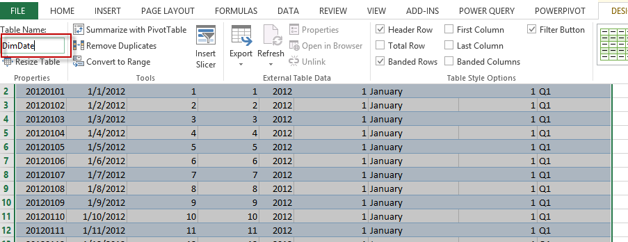 BI Future Blog: Excel : Creating a Date dimension in Excel (for