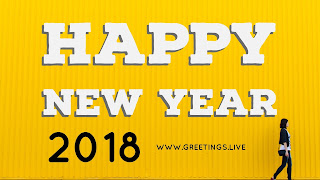 Yellow colored new year 2018 Greetings a women located at bottom right corner of image walking towards right side