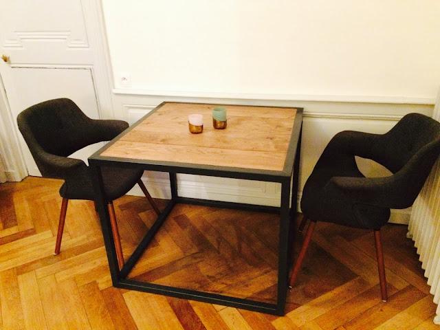 table design acier et bois