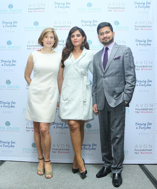 Christine Jaworsky Program Director Avon Foundation for Women, Richa Chadha and Rahul Shanker MD  Avon India at The Justice Institute held in Mumbai