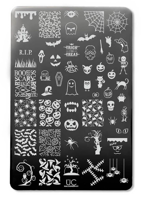 Lacquer Lockdown - Halloween, halloween nail art, halloween nail art stamping plates, nail art, nail art stamping ideas, holiday nail art, stamping plates, UberChic Beauty, candy corn, typography, RIP, skulls, pumpkins, zombies