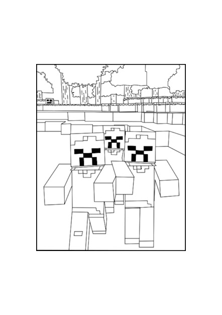 Minecraft Zombies Coloring Page