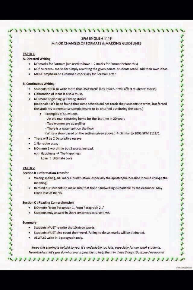 SPM English 1119 Marking Guidelines