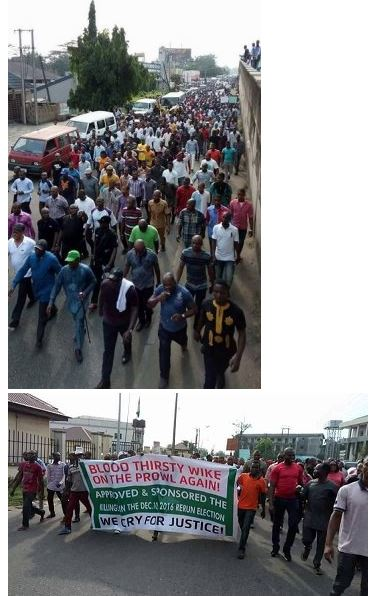 Massive Protest as APC Supporters Shut Down Port Harcourt in Support of the Police
