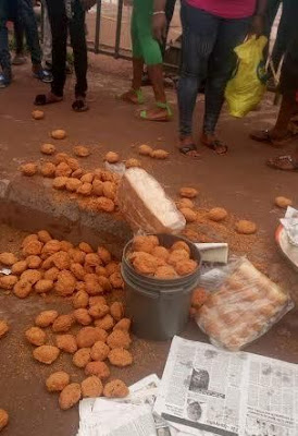 Woman harassed in Benin, her basin of Akara and loaves of bread thrown away (see photos)