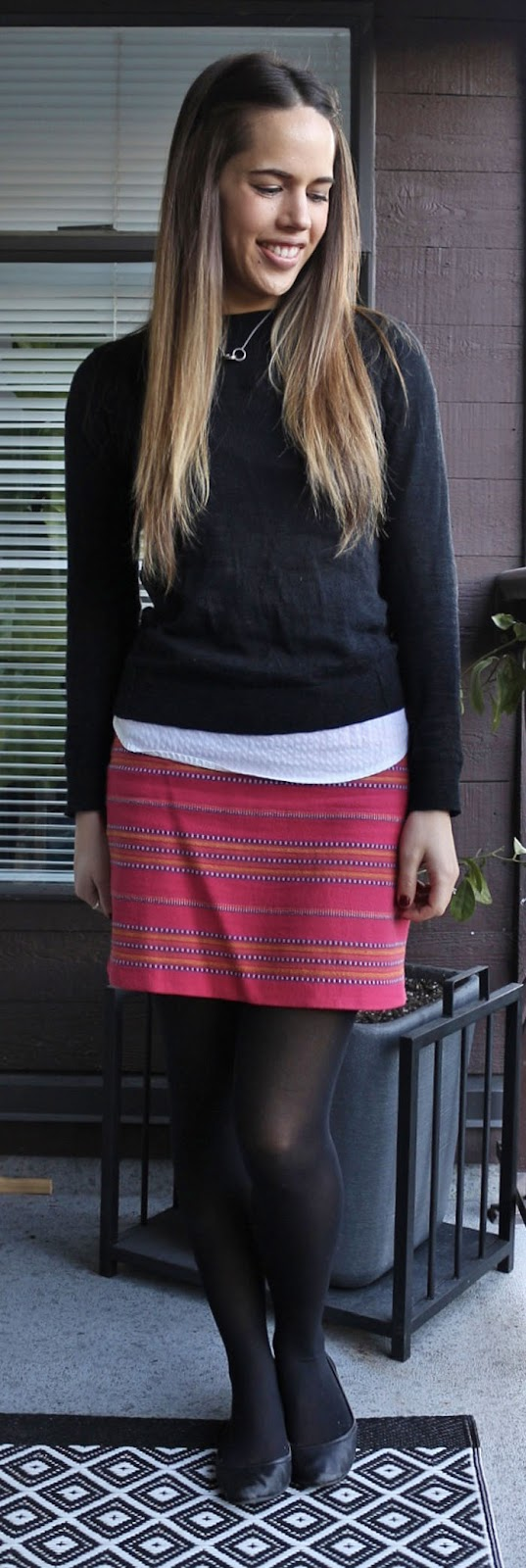 Jules in Flats - Gap Factory striped skirt, Gap Sweater