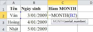 tinhoccoban.net - Hàm Month trong Excel