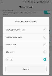 Cara lock LTE only handphone Huawei