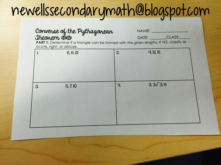 My Favorite: Converse of the Pythagorean Theorem | Mrs ...