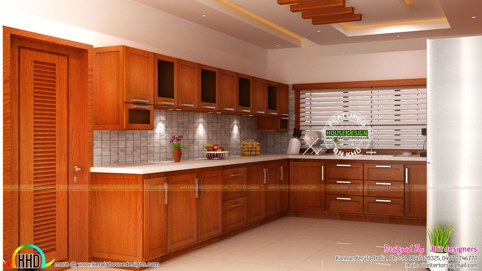 Modular kitchen living and bedroom interior kerala home for Kitchen design kerala