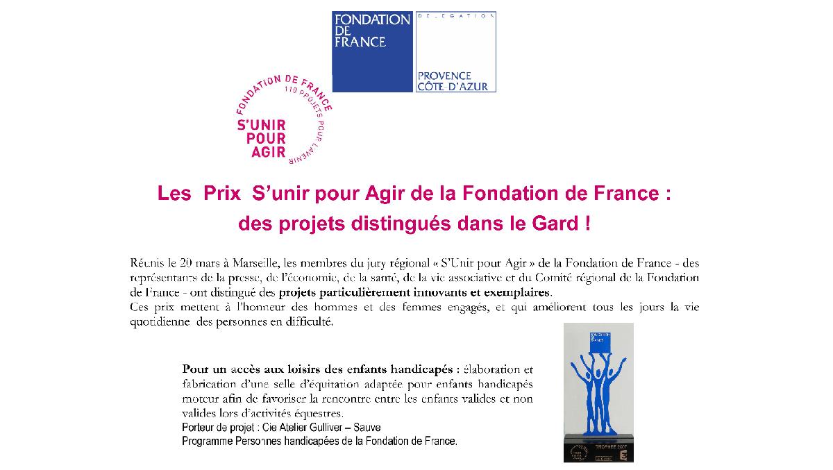 """Pour l'encadrement d'une équipe pluridisciplinaire, la Fondation de France m'a octroyé le prix """"S'unir pour agir"""""""