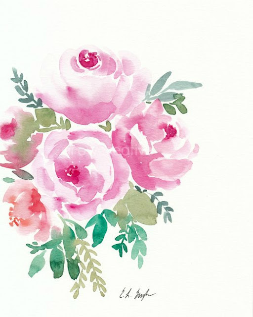 pink watercolor roses painting by Elise Engh: grow creative blog