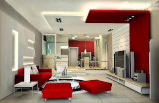 Sala rojo con blanco