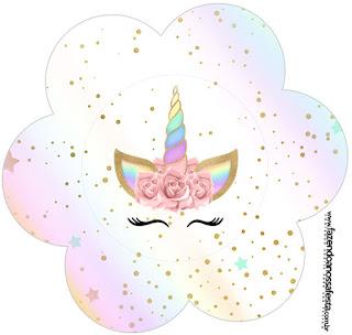 Unicornio y Arco Iris: Wrappers y Toppers para Cupcakes para Imprimir Gratis.