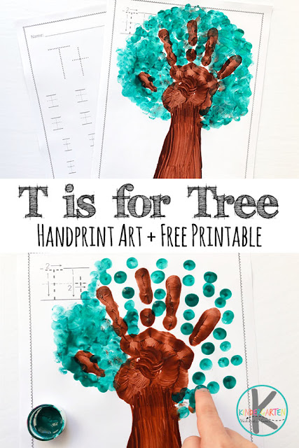 T is for Tree & Free Letter T Worksheets - super cute letter T handprint art project perfect for letter of the week a curriculum,. This alphabet craft is perfect for toddler, preschool, kindergarten, and first grade kids. The free printable letter t worksheets are great for practicing handwriting.  #handprintart #craftsforkids #alphabet