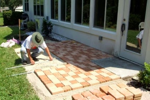 midway through how to create a patio with stone pavers