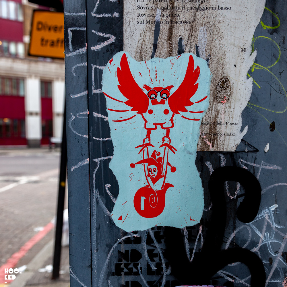 Shoreditch Street Art, wheat pasted posters in London.