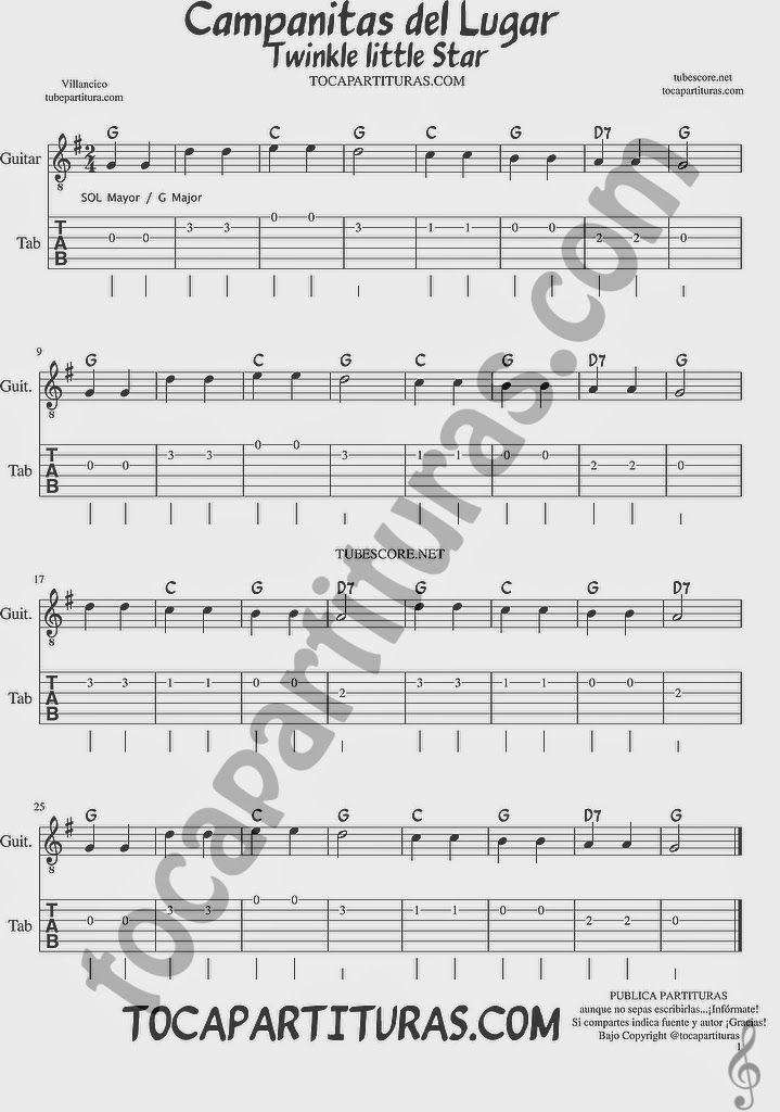 Campanitas del Lugar Tablatura y Partituras del Punteo de Guitarra con acordes Tabs Twinkle Twinkle little Star sheet music for easy guitar Tablature with chords SOL MAYOR / G MAJOR