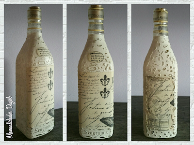 Botella decorada con decoupage