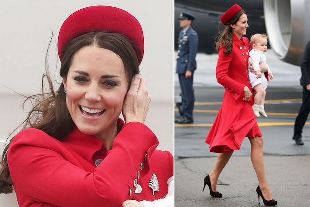 Kate wears red Catherine Walker coat dress and and has been loaned the Queen's silver fern brooch.