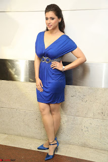 Mannara Chopra in Short Blue Dress at Rogue Movie Teaser Launch 1st March 2017 125.JPG