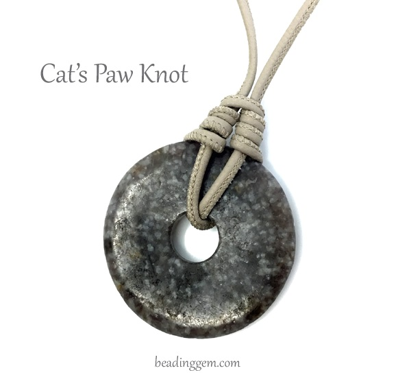 cat's paw knot tutorial with gemstone donut