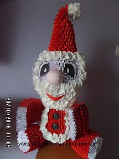 Świety, Mikołaj, origami, święta, mikołajki, z papieru, fajny, prezent, handmade, rękodzieło, czerwony, biały, boże narodzenie, moduły, 3d, origami,