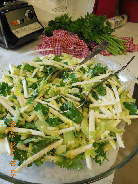 Root and Stem Salad, Celery root and ribs dressed in a horseradish dressing.