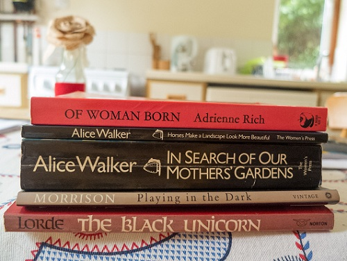 Book pile: Of Woman Born by Adrienne Rich, Horses Make a Landscape More Beautiful by Alice Walker, In Search of Our Mothers' Gardens by Alice Walker, Playing in the Dark by Toni Morrison, The Black Unicorn by Audre Lorde