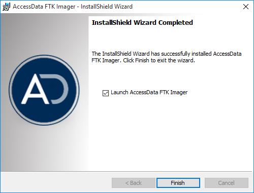AccessData FTK Imager, Fine installazione e avvio