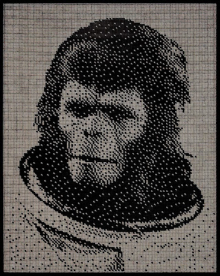 planet of the apes portrait made with ball bearings