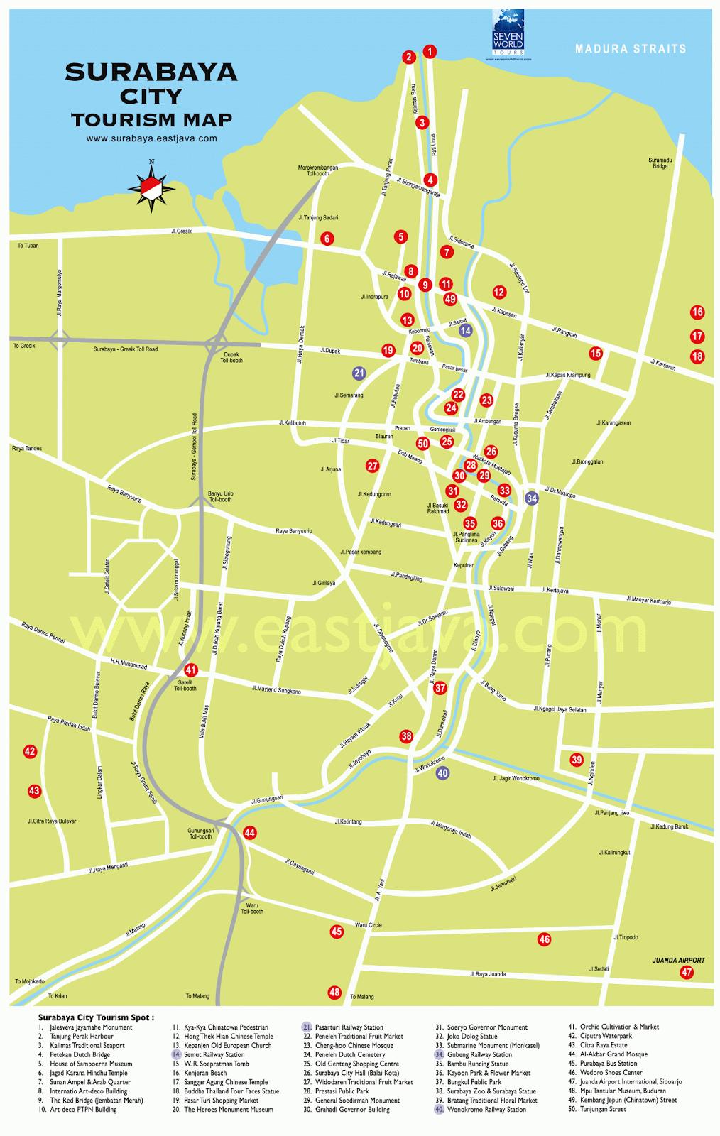 Peta Digital lokasi Wisata Surabaya