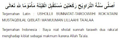 niat sholat tarawih untuk makmum