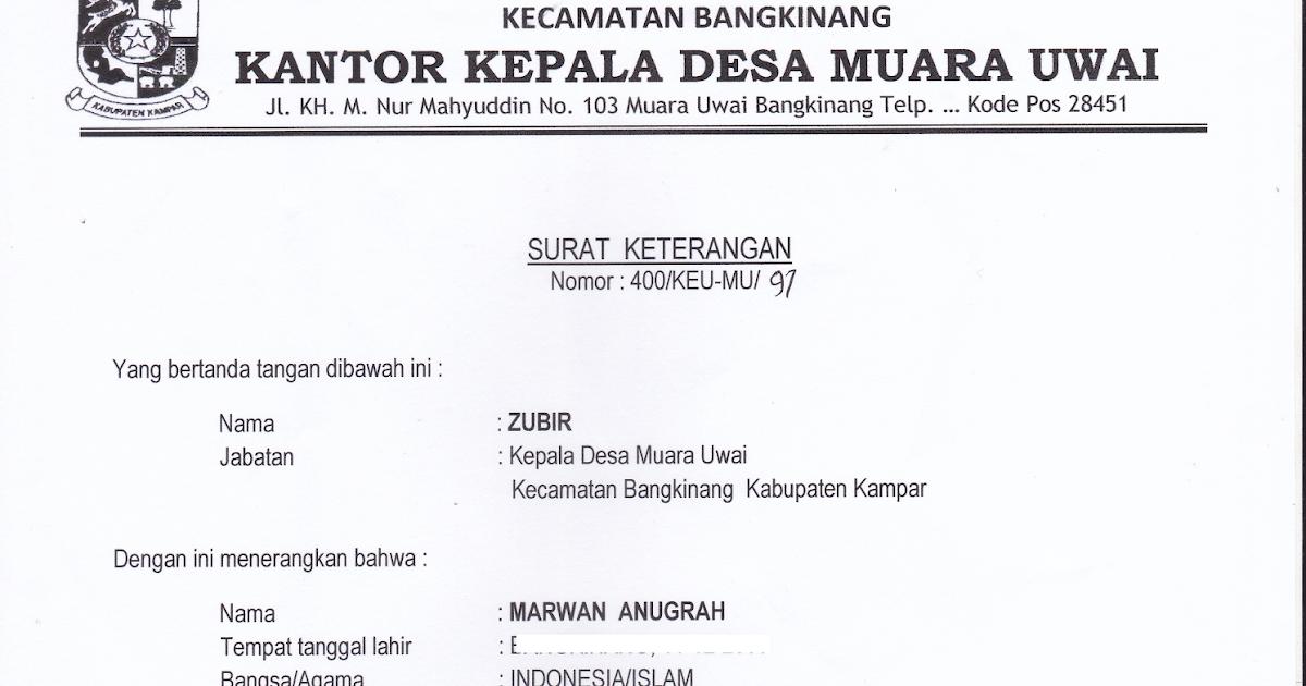 Contoh Surat Keterangan Belum Menikah Dari Kepala Desa ...