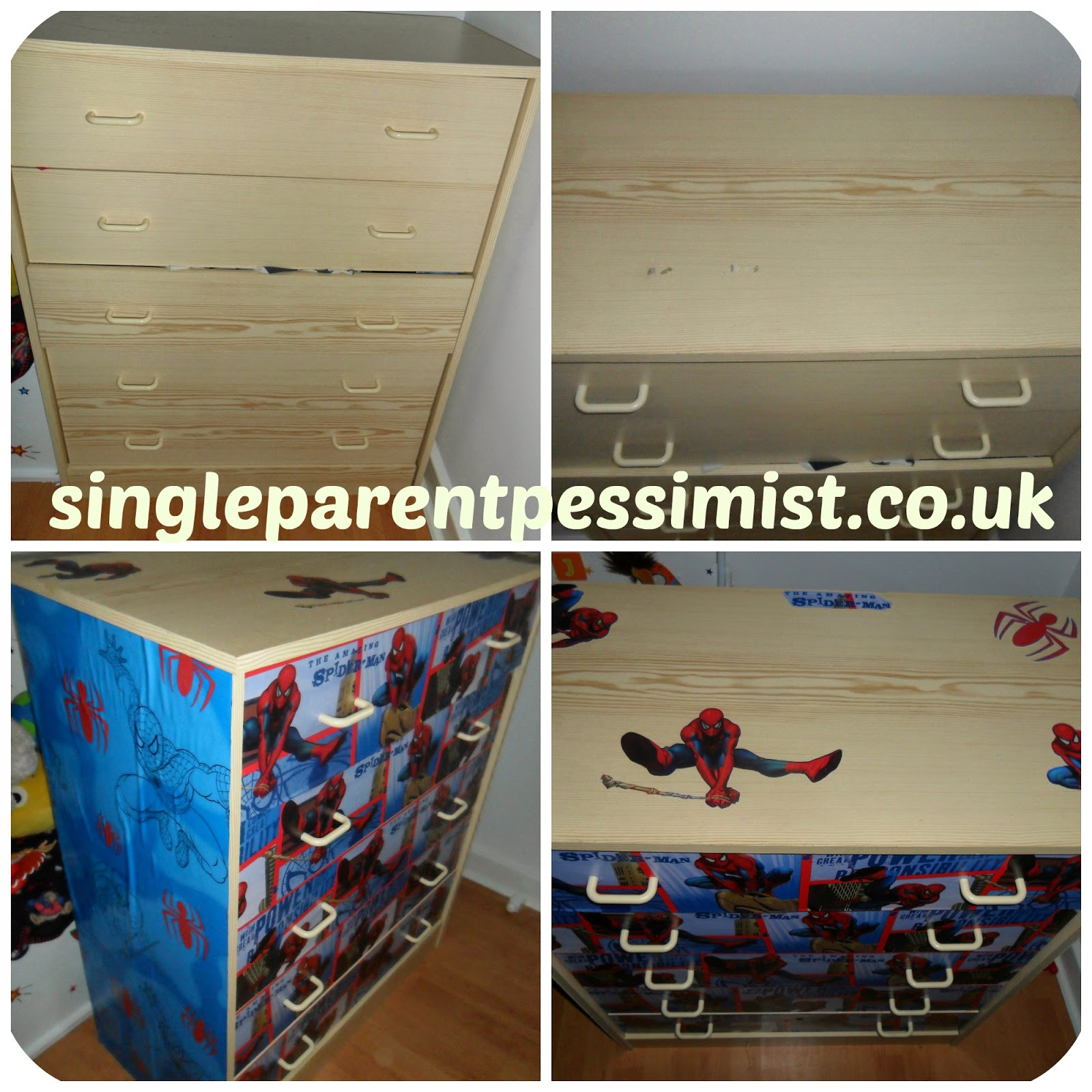 spiderman chest of drawers upcycle rustoleum