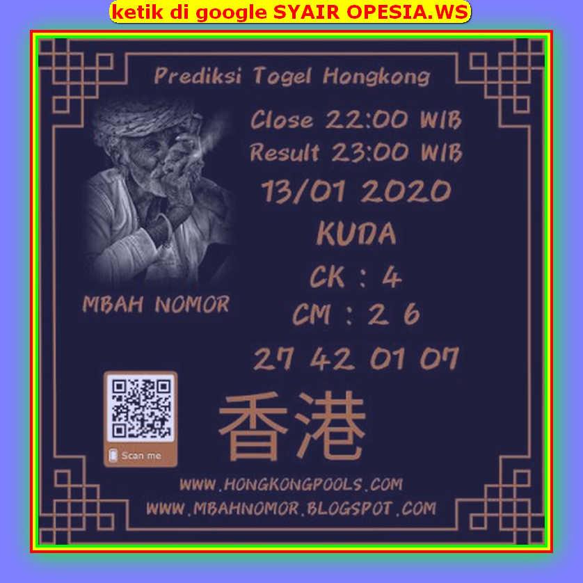 Kode syair Hongkong Senin 13 Januari 2020 102