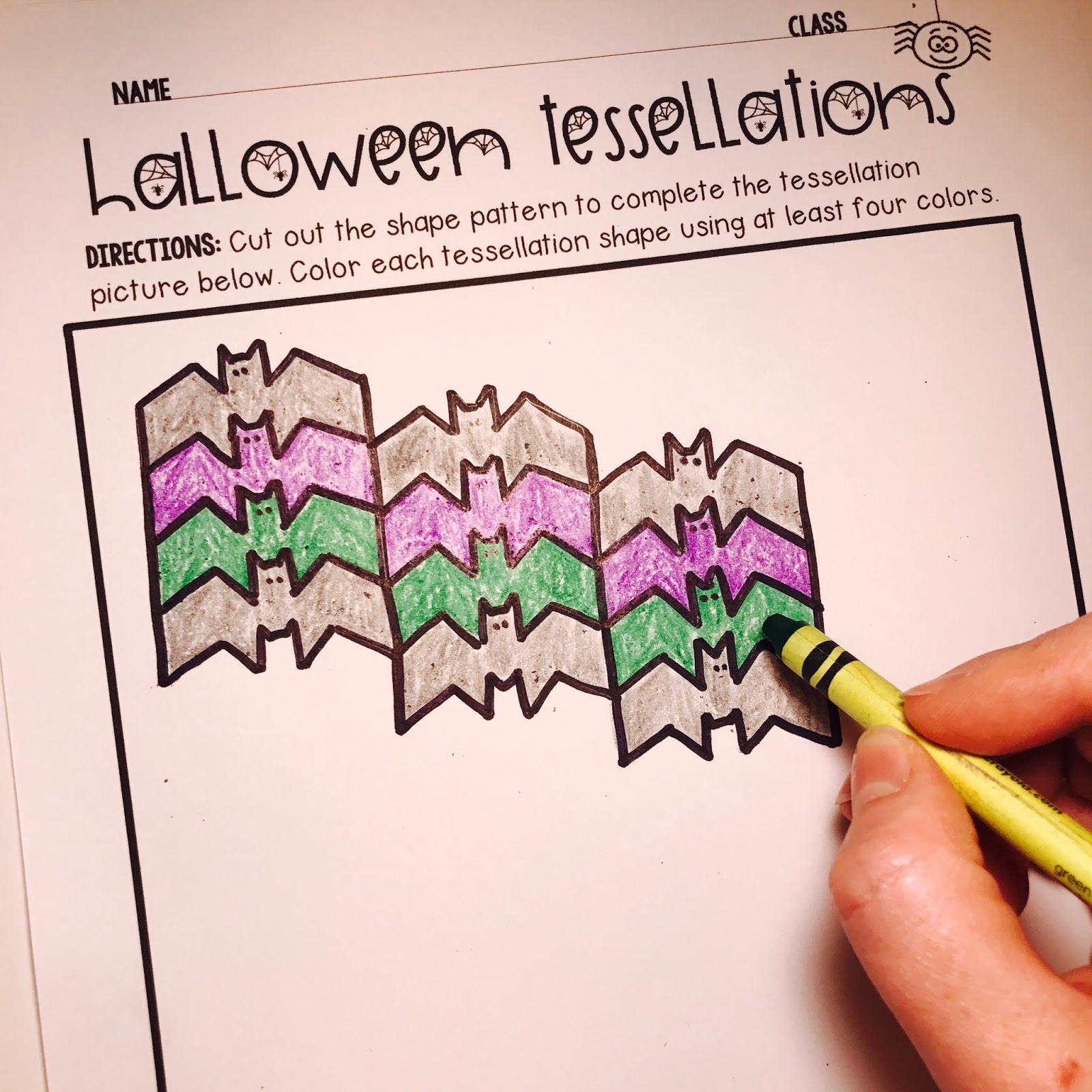 Kelly Mccown Halloween Tessellations Math Art Project