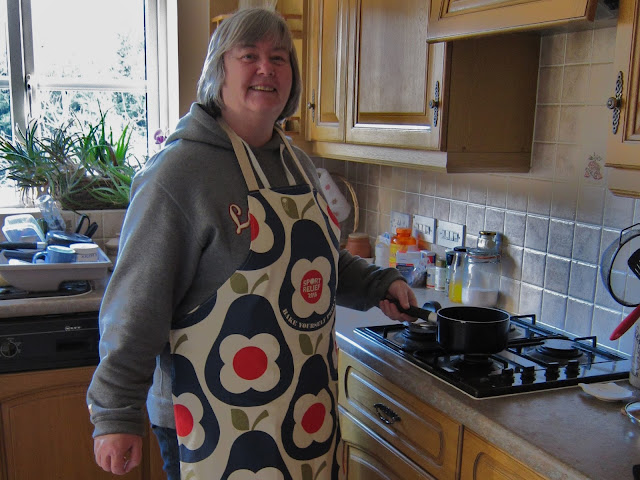 Showing off my Great Sport Relief Bake Off designer apron
