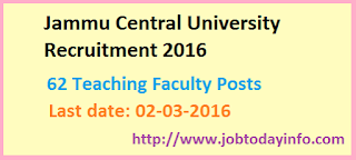 Jammu Central University Recruitment 2016 – Apply for 62 Teaching Faculty Posts