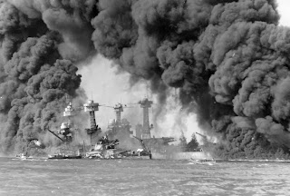 American battleships burning, 1941